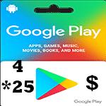گيفت كارت گوگل پلی 25*4 دلاری