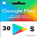 گيفت كارت گوگل پلی 30 دلاری